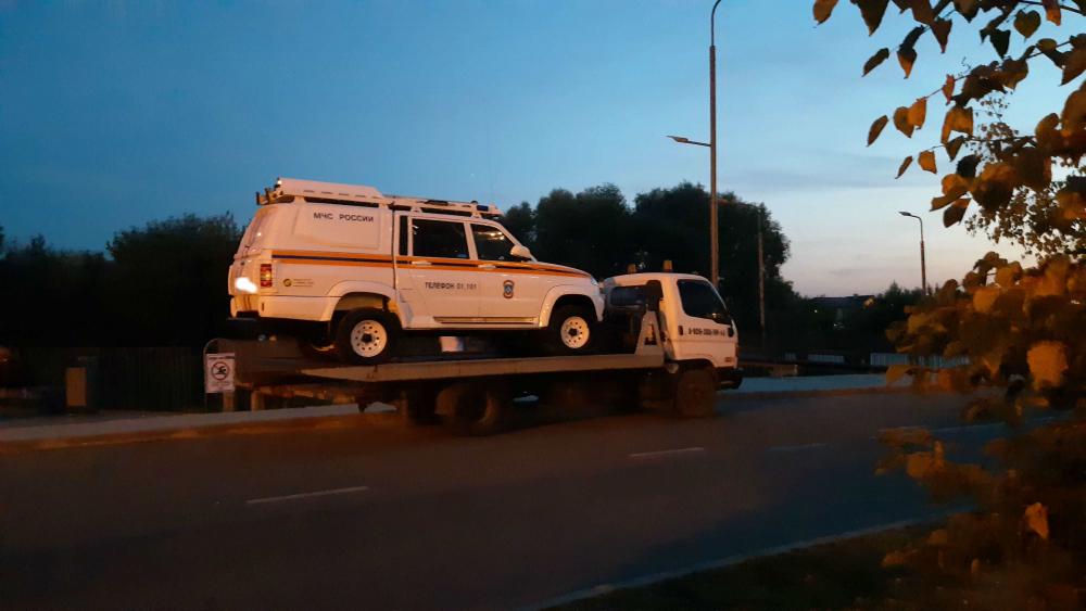 Эвакуация автомашины МЧС. г.Жуковский